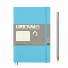 Notebook Paperback (B6+) Dotted, Softcover, 123 Numbered Pages, Ice Blue